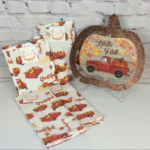 🍁 Farmhouse Style Red Truck Pumpkin Kitchen Set🍁